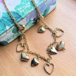 Vintage Kirks Folly dainty hearts golden necklace